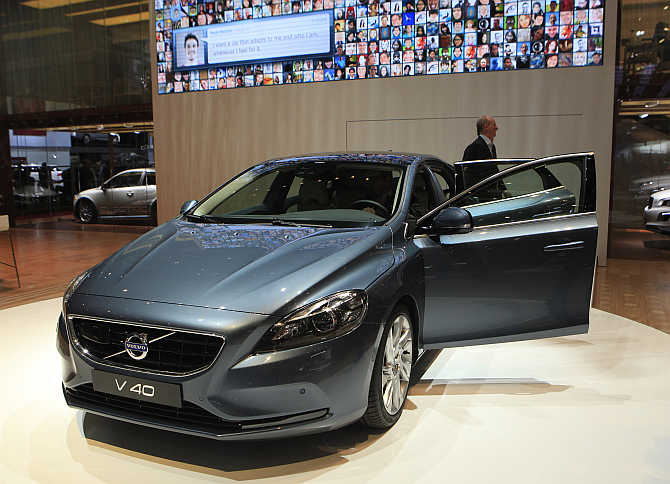 A Volvo V40 model on display in Geneva, Switzerland.