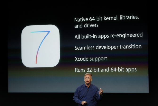 Phil Schiller, senior vice president of worldwide marketing for Apple Inc, talks about iOS7 during Apple Inc's media event in Cupertino, California.