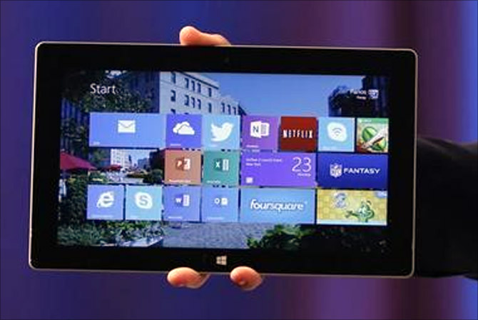 Microsoft's Surface 2 is seen during the launch of their Surface 2 tablets in New York.