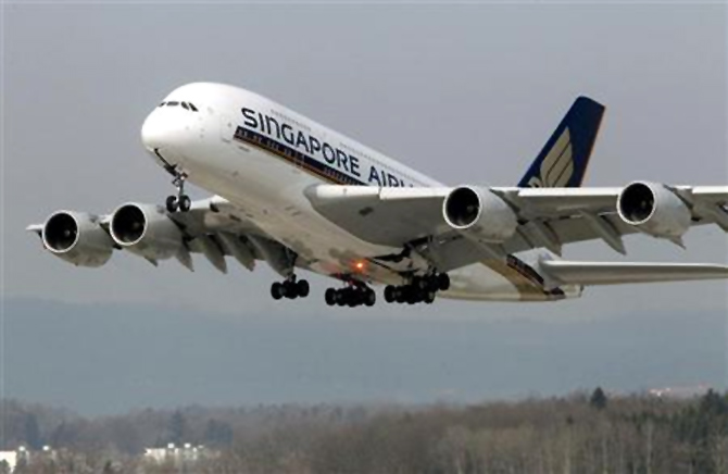 An Airbus A380 jet of Singapore Airlines takes off from the airport in Zurich.