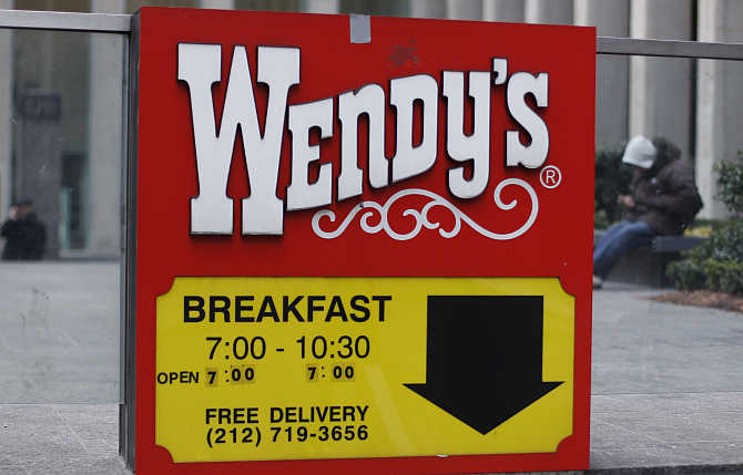 A Wendy's sign outside the fast food restaurant in New York City.