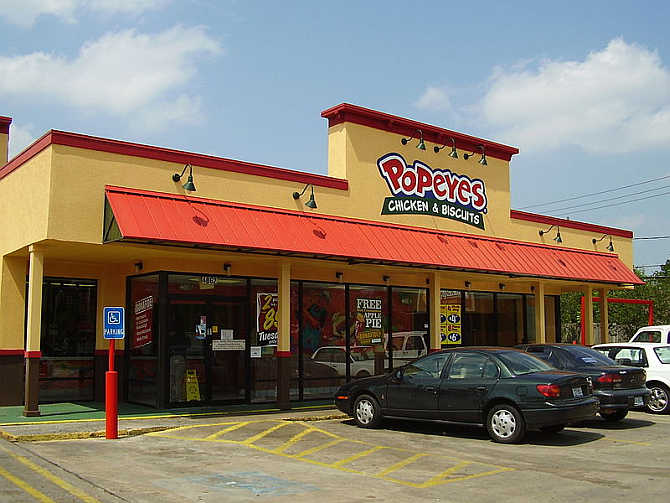 A Popeyes Chicken & Biscuits in Houston, Texas.