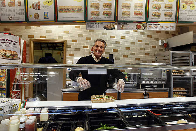 Subway founder Fred DeLuca in a branch in central London.