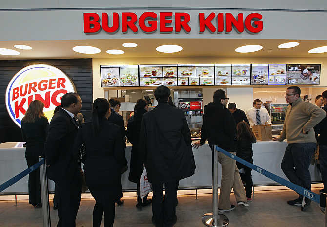 Burger King restaurant at the Marignane airport hall in France.