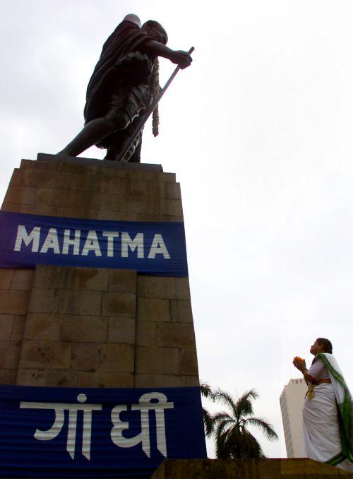 A statue of Mahatma Gandhi in Mumbai.