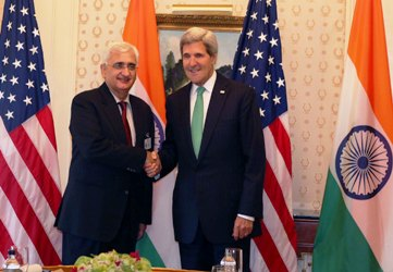 Indian Foreign Minister Salman Kurshid met US Secretary of State John Kerry in New York.