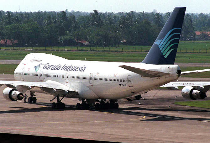 A Boeing 747-200 jumbo jet owned by Indonesia Garuda Airlines waits on the tarmac for take off at Jakarta's International Airport in Indonesia.