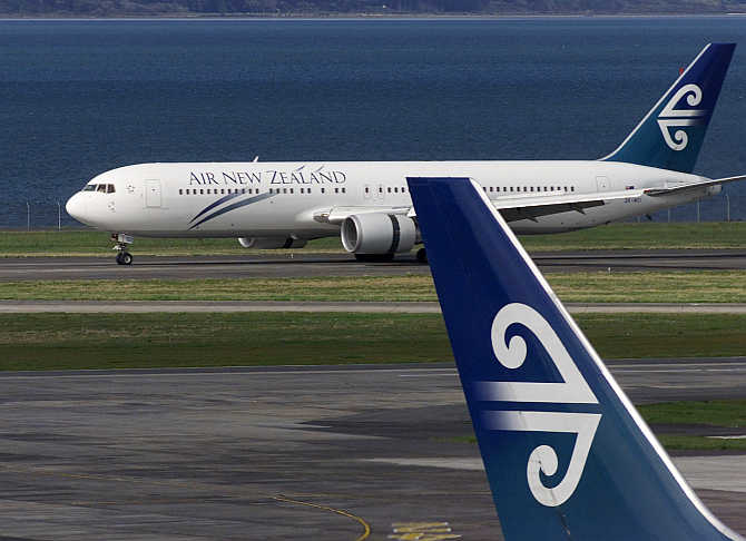 An Air New Zealand plane taxis at Auckland International Airport in New Zealand.