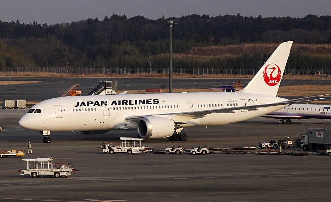 A Japan Airlines's plane at New Tokyo international airport in Narita, east of Tokyo, Japan.