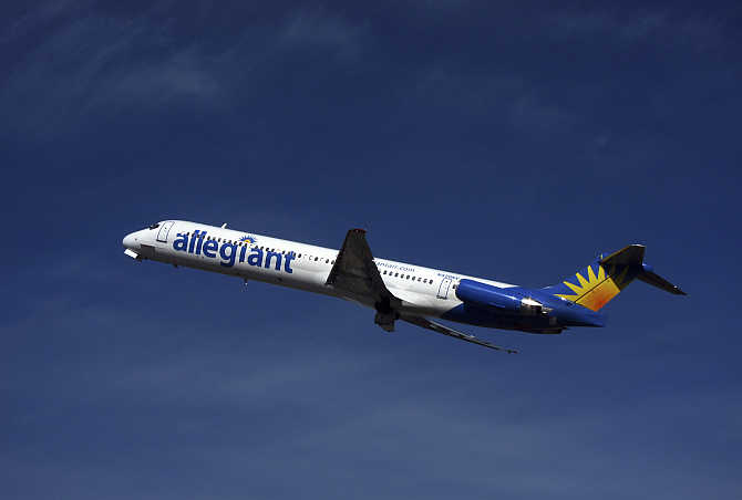 An Allegiant Air plane takes off from the Monterey airport in Monterey, California, United States.