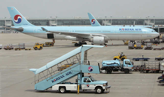 Korean Air's planes are parked at Incheon International Airport, west of Seoul, South Korea.