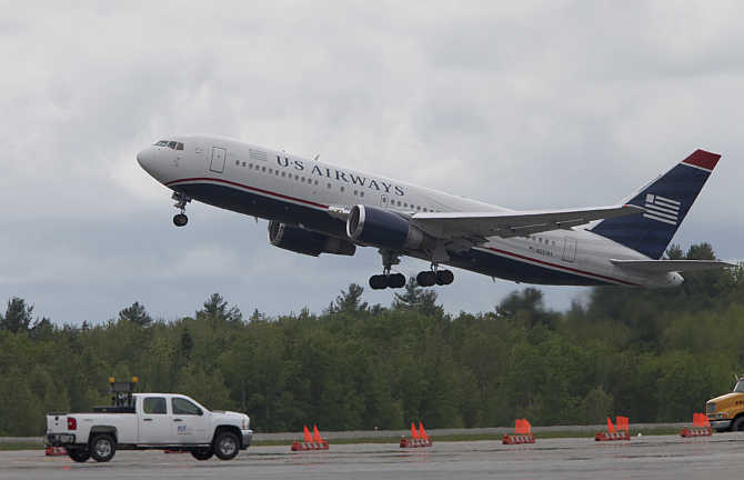 A US Airways flight takes off from Bangor in Maine, United States.