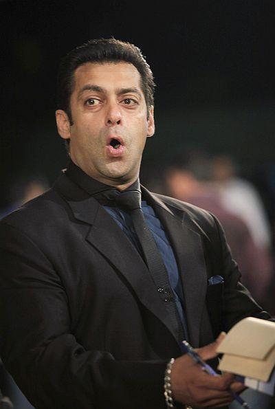 Bollywood actor Salman Khan speaks on the green carpet for the International Indian Film Academy (IIFA) awards.
