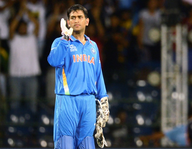 Mahendra Singh Dhoni looks on during the ICC World Twenty20 Super 8 cricket match against South Africa at the R Premadasa Stadium in Colombo October 2, 2012.