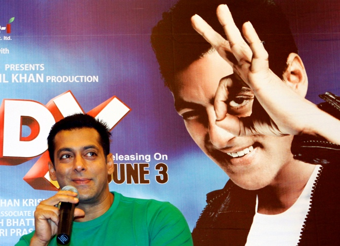 Salman Khan smiles during a promotional event.