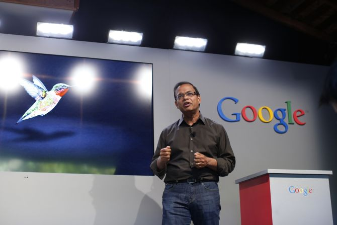 Amit Singhal, senior vice president of search at Google, introduces the new 'Hummingbird' search algorithm at the garage where the company was founded on Google's 15th anniversary in Menlo Park, California.