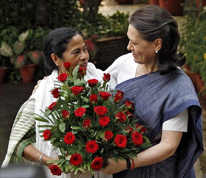 Mamata Banerjee with Congress president Sonia Gandhi.