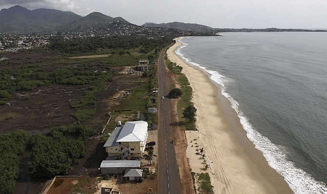 An aerial view shows Lumley Beach in the Sierra Leonean capital Freetown.