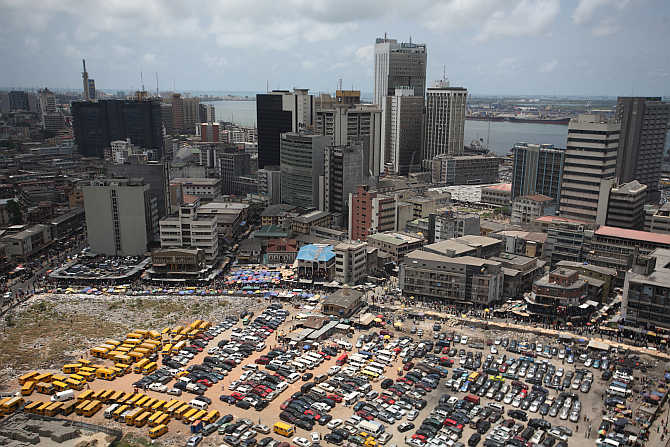 An aerial view shows the central business district in Nigeria's commercial capital of Lagos.