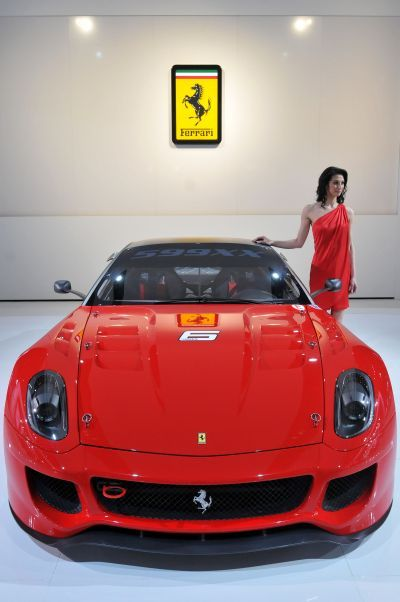 The Ferrari 599XX displayed during the press preview for the world automotive media at the North American International Auto Show.