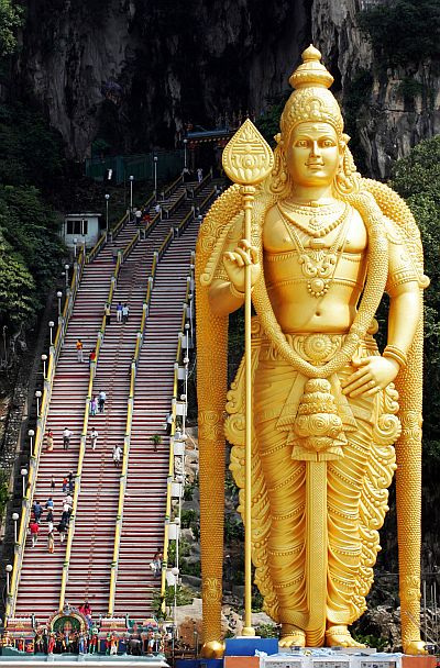 Giant statue of Lord Muruga at Batu Caves temple.