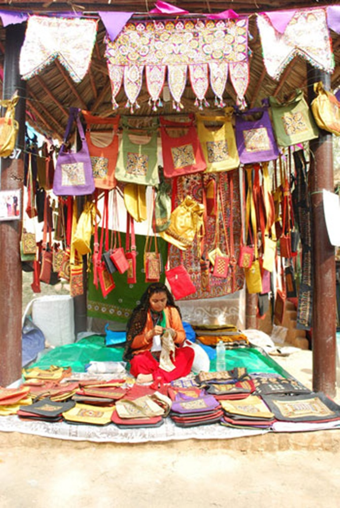A lady at the Surajkund Crafts festival.
