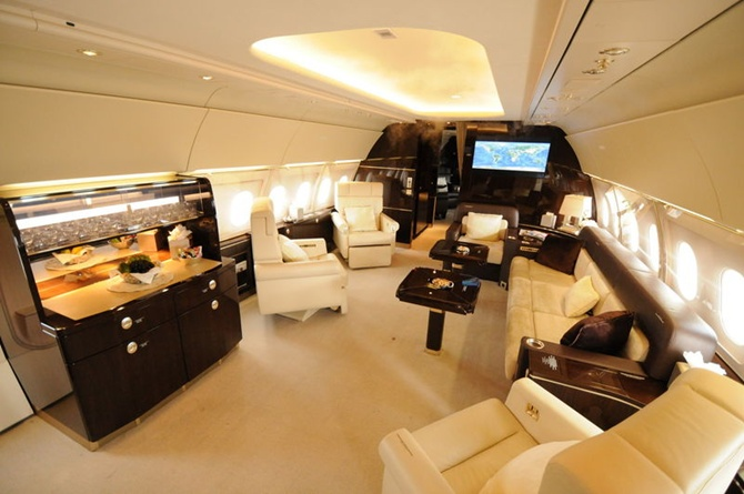 Cabin of the ACJ318 operated on VVIP charter flights by Al Jaber Aviation.