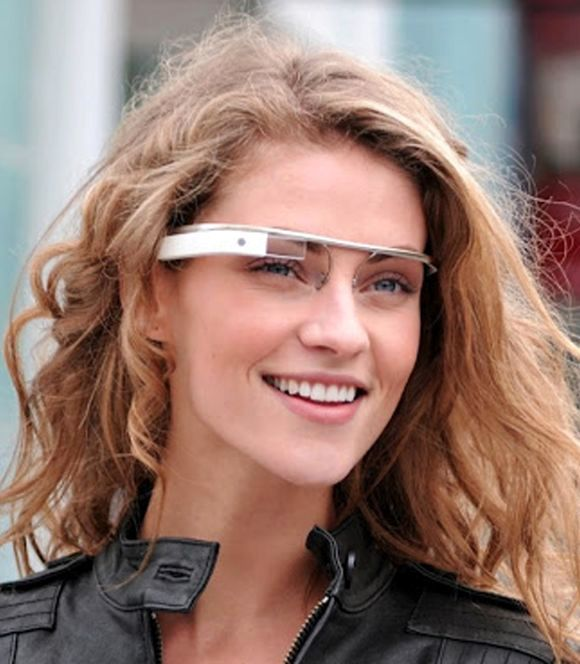 Model wearing Google Glass.