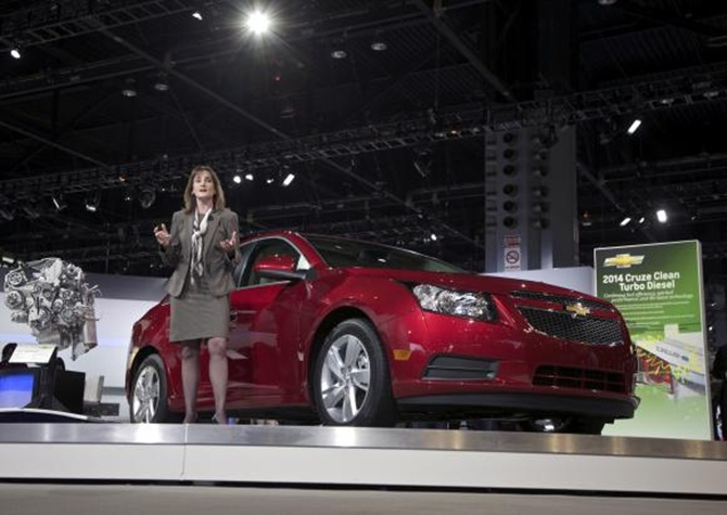 Cristi Landy, Chevrolet marketing director for small cars speaks during the debut of the 2014 Chevy Cruze Clean Turbo Diesel at the Chicago Auto Show.