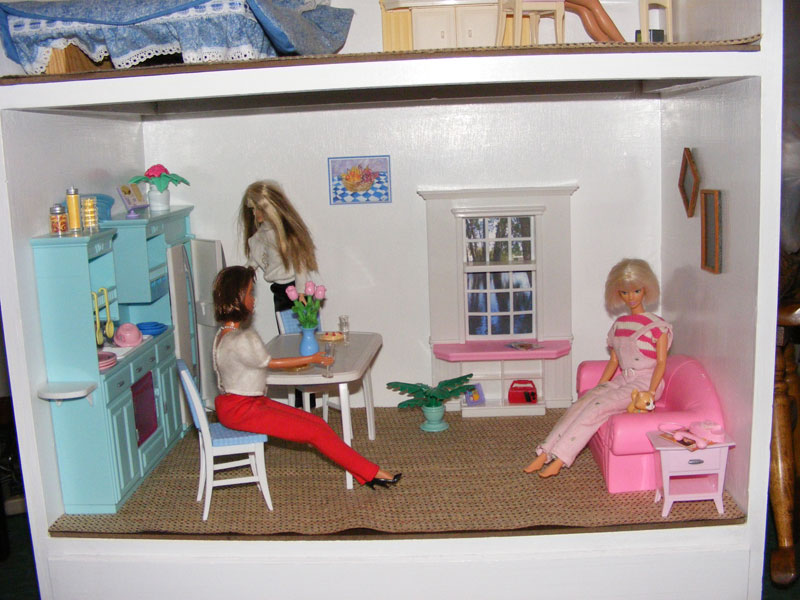A Barbie toy house.
