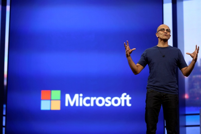 Microsoft CEO Satya Nadella gestures as he speaks during his keynote address at the company's 'build' conference in San Francisco, California April 2, 2014.