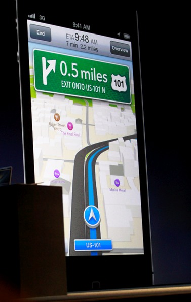 A screen shot showings turn-by-turn navigation using Apple's own maps and Siri in iOS6 is pictured during the Apple Worldwide Developers Conference.
