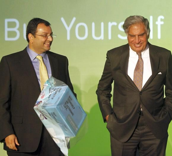 Ratan Tata, Chairman Emeritus of Tata Sons (right) seen with Cyrus Mistry, chairman, Tata Sons.