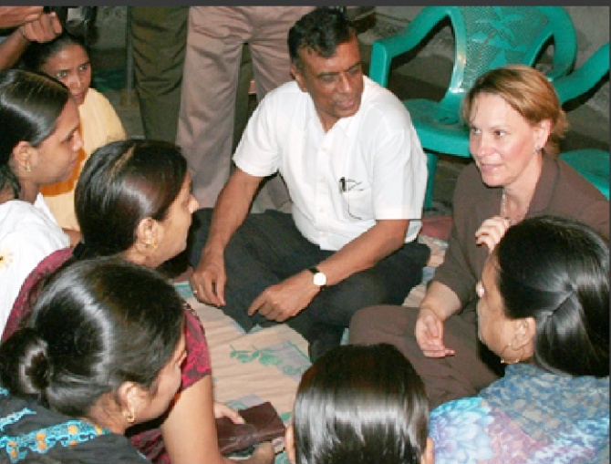 Chandra Shekhar Ghosh with US Consul General Beth A Payne at a Bandhan meeting in Kolkata.