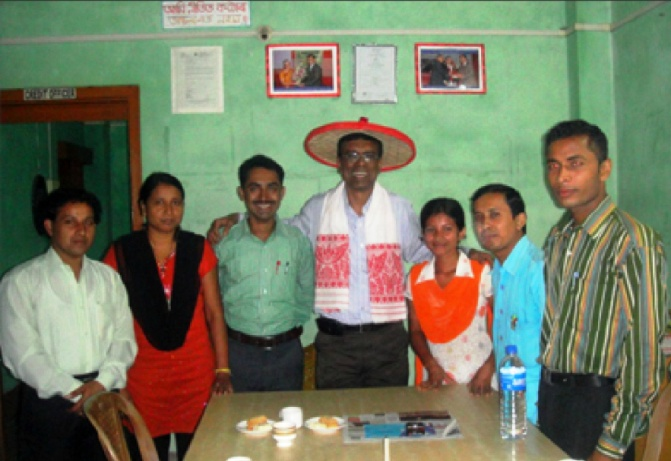 The CMD with team members at a branch office in Assam.
