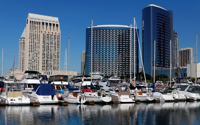 The Hyatt (L) and Marriott hotels are pictured next to the Embarcadero Marina in down town San Diego, California.