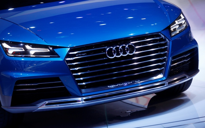 View of the grille of the Audi Allroad Quattro e-tron.