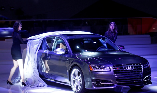 The Audi S8 is unveiled during the press preview day of the North American International Auto Show in Detroit, Michigan.
