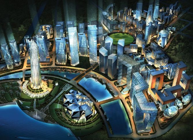 Artist's impression of the upcoming economic hub in Gujarat called GIFT.