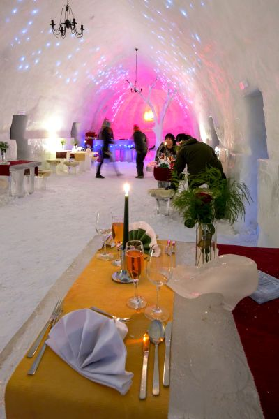 Restaurant at the Ice Hotel, Lake Balea.