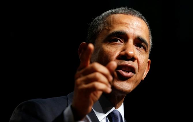 US President Barack Obama speaks during a visit to Bladensburg High School in Bladensburg, Maryland April 7, 2014.