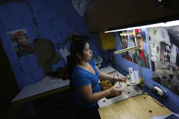 Maria works in a sewing workshop in her apartment.