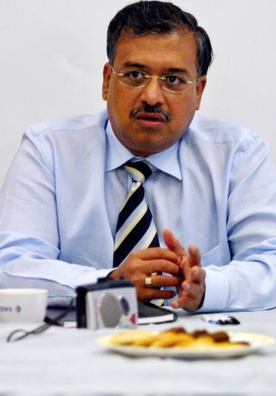 India's Sun Pharmaceutical Industries Ltd Director Dilip Shanghvi speaks during the Reuters India Summit in Mumbai.