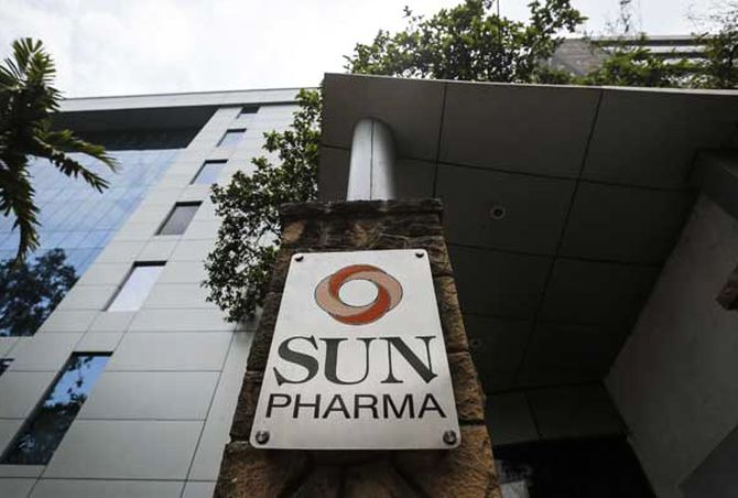 A logo of Sun Pharmaceutical Industries Ltd at its research and development center in Mumbai.