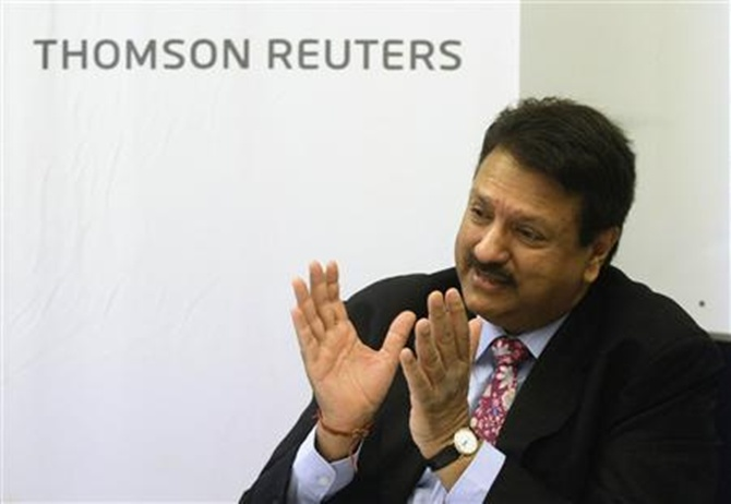 Ajay Piramal, chairman of the Piramal Group, speaks during the Reuters India Investment Summit in Mumbai.