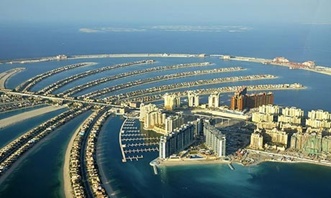 An aerial view of Dubai's PalmIsland, a project of Dubai World.
