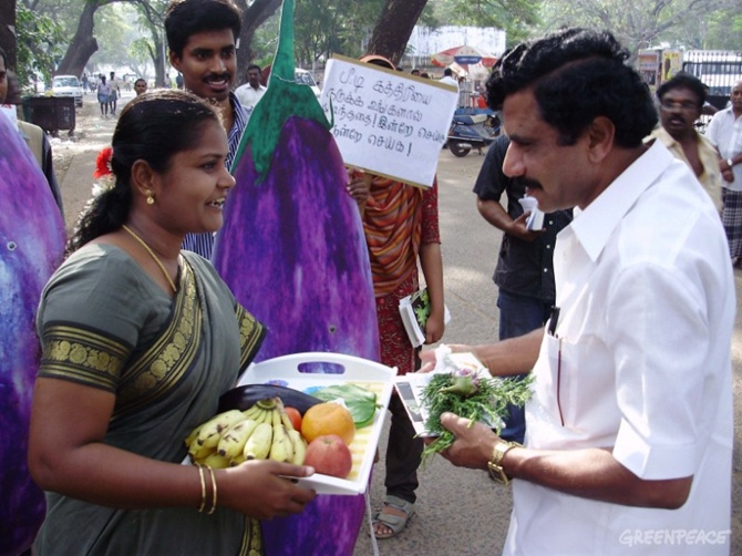 Activists present the GM free Brinjal Bouquet to MLAs in the State to protest against GM food crop commercialisation and research in TN.
