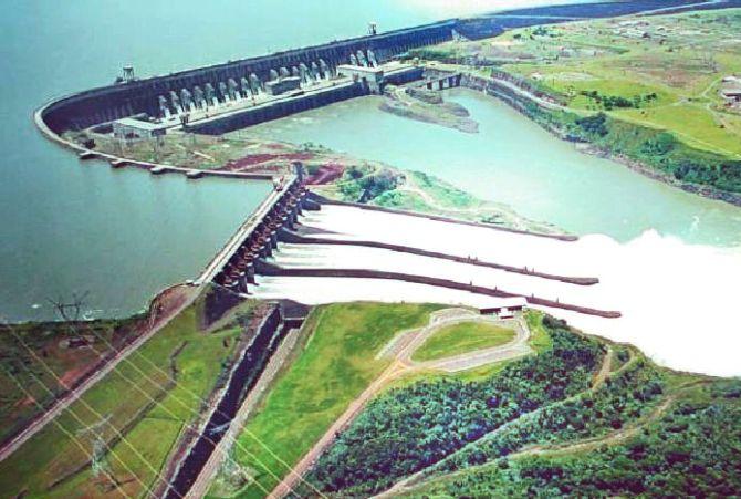 Ariel view of Itaipu Dam.