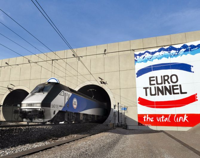 A train coming out of Eurotunnel.