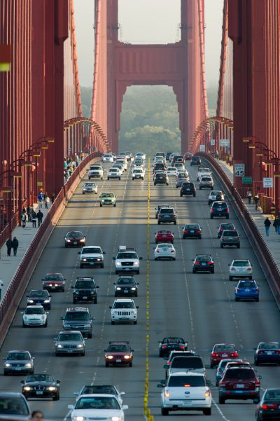 Vehicles move on the Golden Gate Bridge.